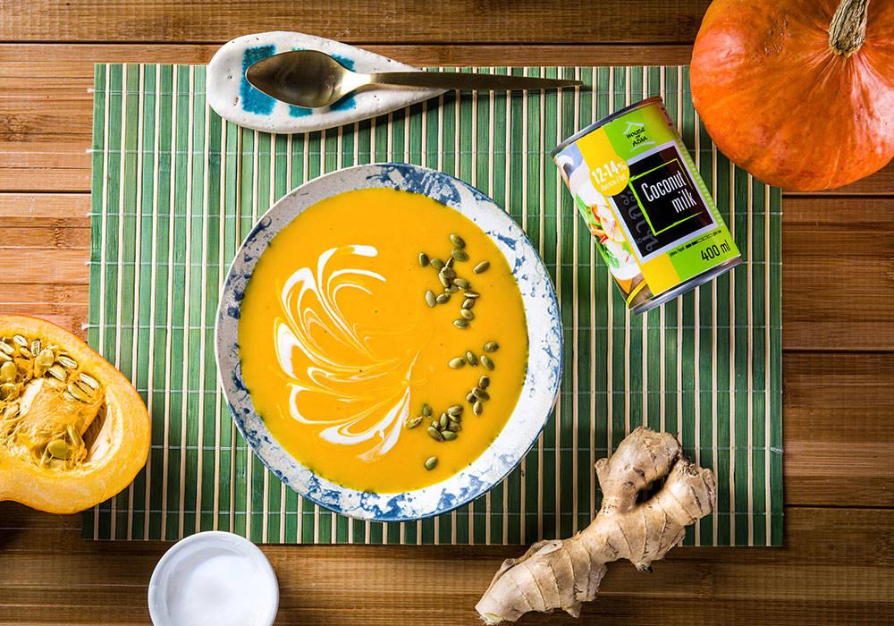 Zupa dyniowa z mleczkiem kokosowym house of asia