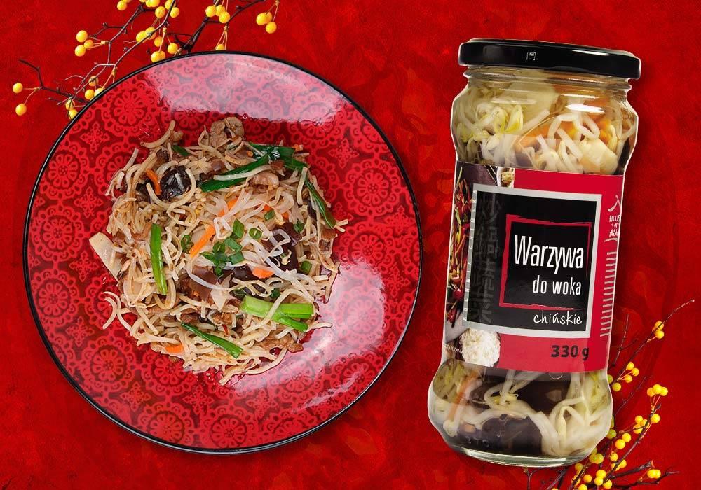 Polędwiczki wieprzowe z makaronem Vermicielli i warzywami
