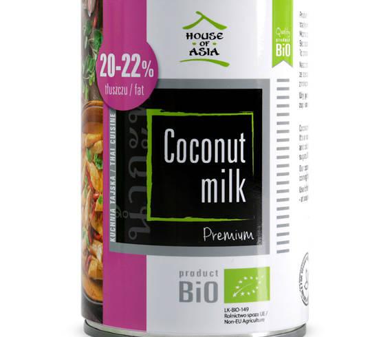Mleczko kokosowe premium BIO 20-22% 400 ml house of asia