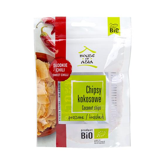 Chipsy kokosowe BIO o smaku słodkiego chili 40 g Houser of Asia